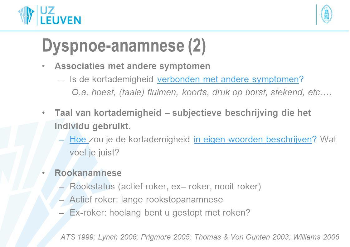 Dyspnoe-anamnese (2) Associaties met andere symptomen
