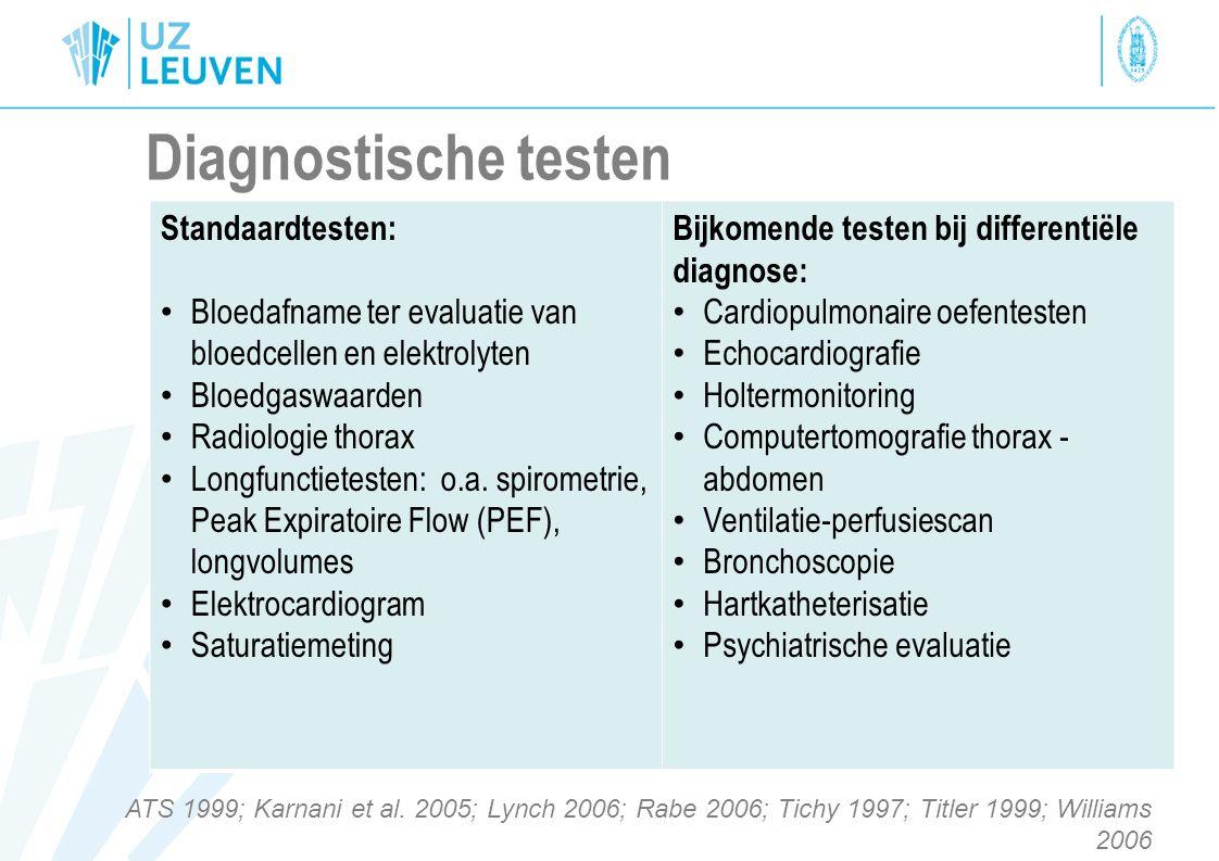 Diagnostische testen Standaardtesten: