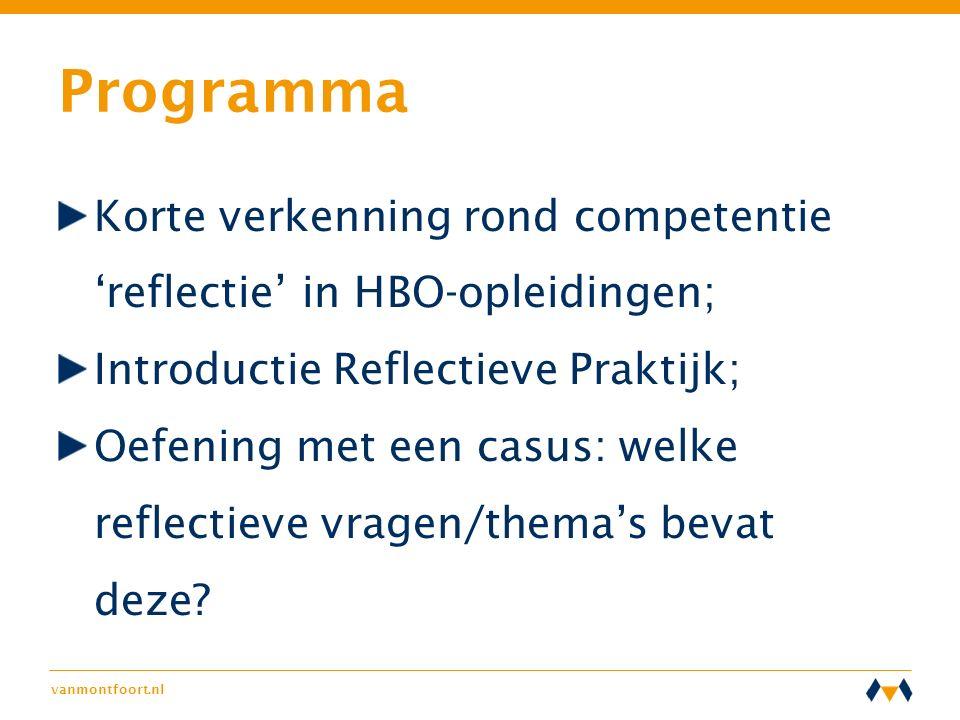 Programma Korte verkenning rond competentie 'reflectie' in HBO-opleidingen; Introductie Reflectieve Praktijk;