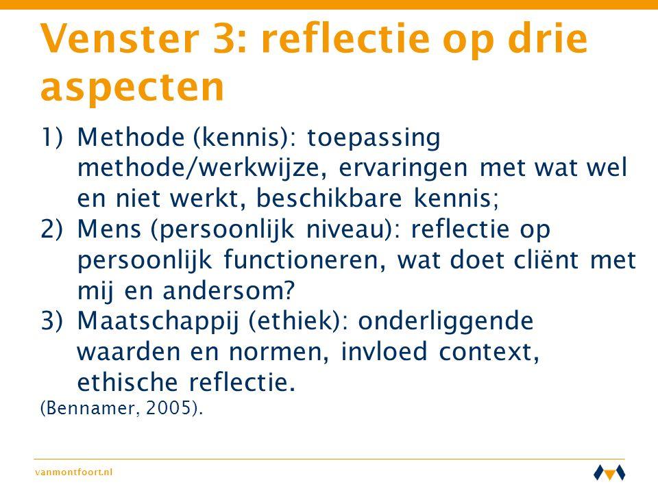 Venster 3: reflectie op drie aspecten