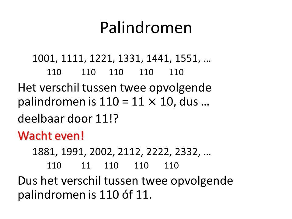 Palindromen 1001, 1111, 1221, 1331, 1441, 1551, … 110 110 110 110 110.