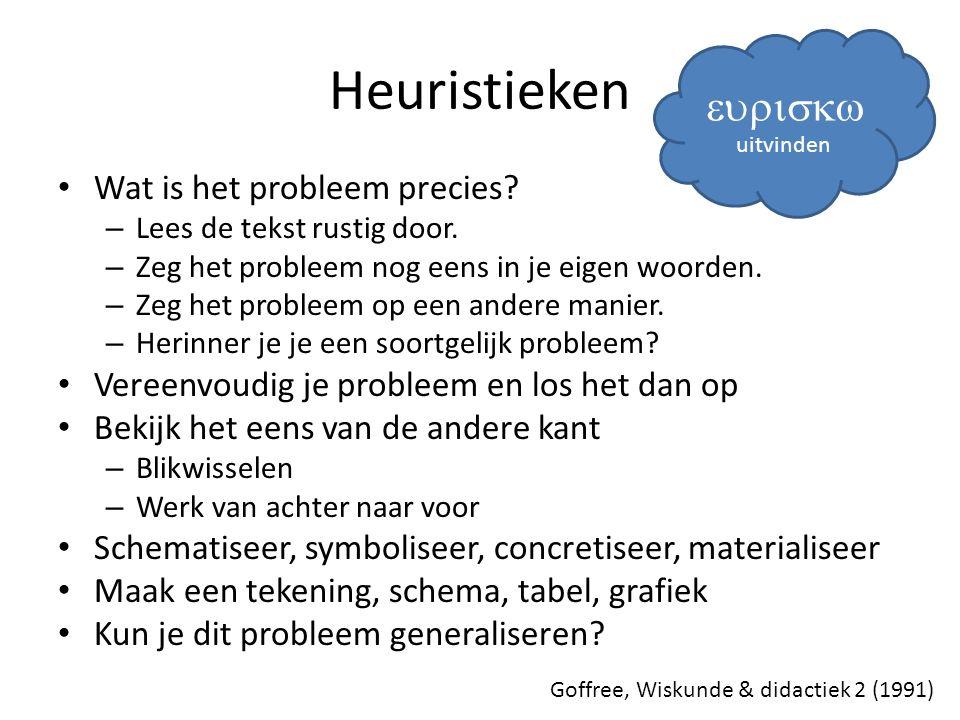 Heuristieken eurisk Wat is het probleem precies