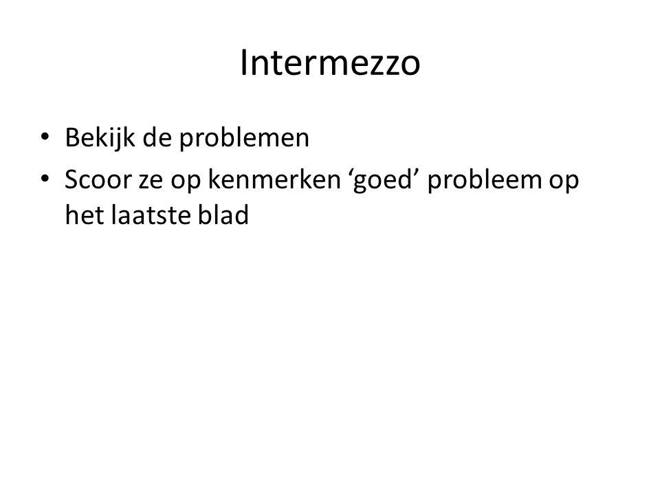 Intermezzo Bekijk de problemen