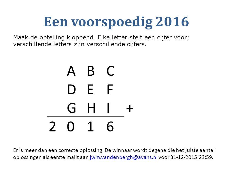 A B C D E F G H I + 2 1 6 Een voorspoedig 2016