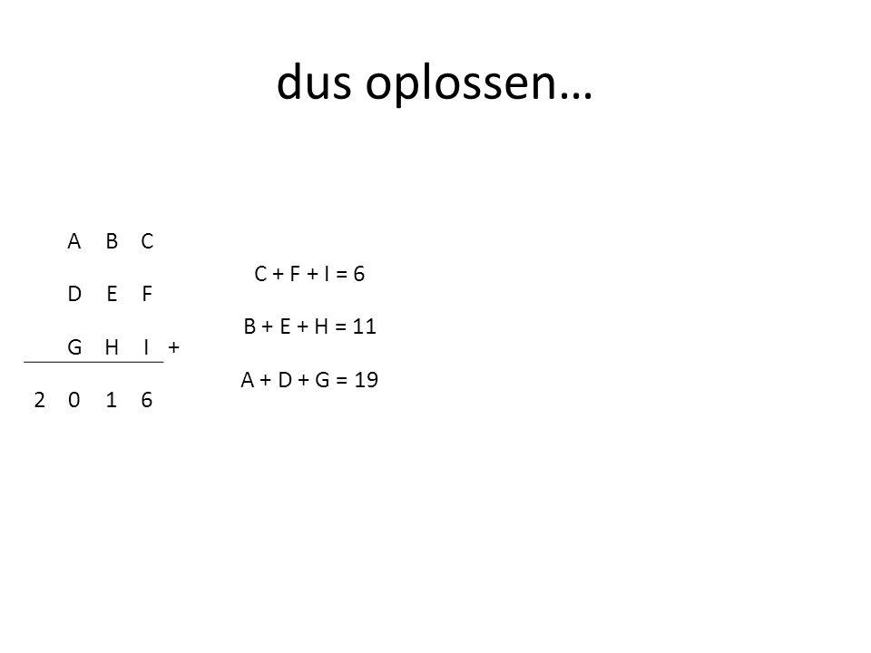 dus oplossen… C + F + I = 6 B + E + H = 11 A + D + G = 19 A B C D E F