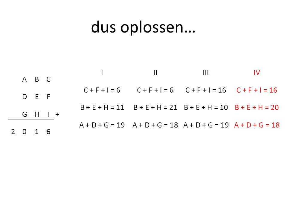dus oplossen… I II III IV C + F + I = 6 C + F + I = 16 B + E + H = 11