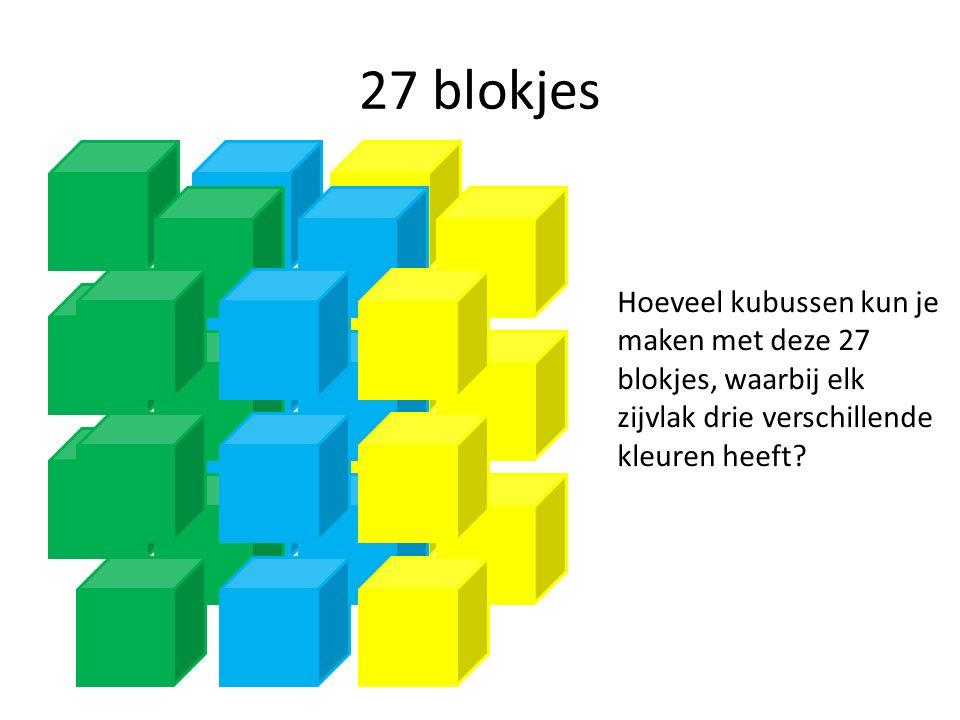 27 blokjes Hoeveel kubussen kun je maken met deze 27 blokjes, waarbij elk zijvlak drie verschillende kleuren heeft