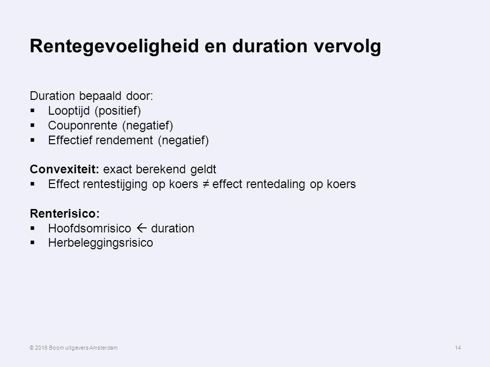 Rentegevoeligheid en duration vervolg