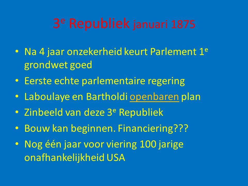 3e Republiek januari 1875 Na 4 jaar onzekerheid keurt Parlement 1e grondwet goed. Eerste echte parlementaire regering.