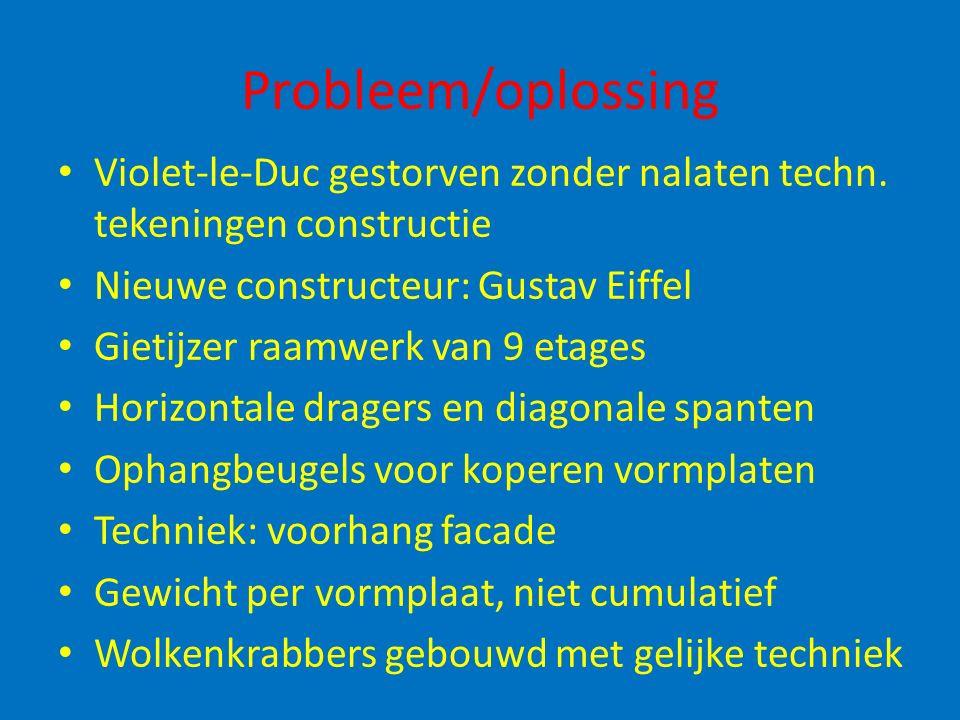 Probleem/oplossing Violet-le-Duc gestorven zonder nalaten techn. tekeningen constructie. Nieuwe constructeur: Gustav Eiffel.
