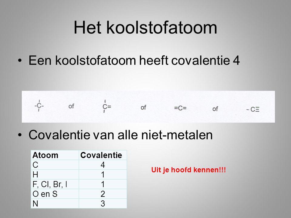 Het koolstofatoom Een koolstofatoom heeft covalentie 4