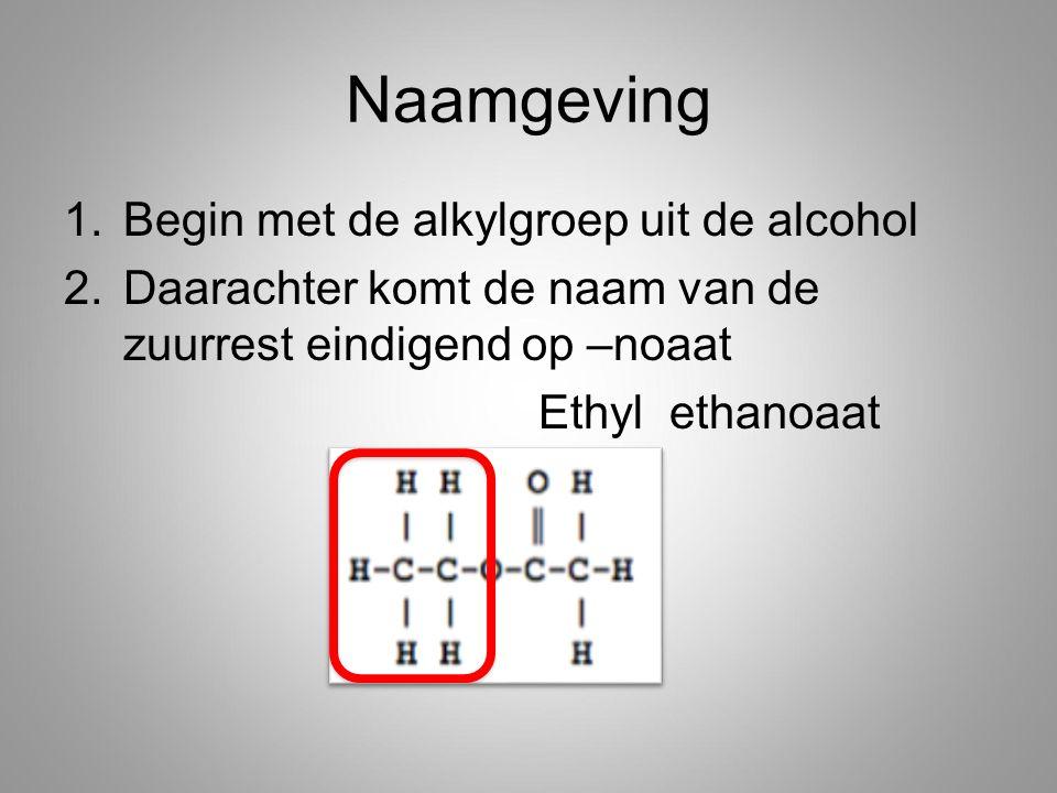 Naamgeving Begin met de alkylgroep uit de alcohol