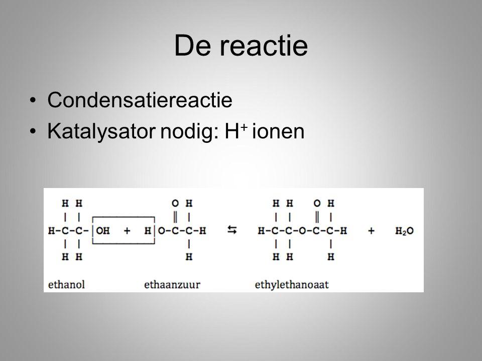 De reactie Condensatiereactie Katalysator nodig: H+ ionen