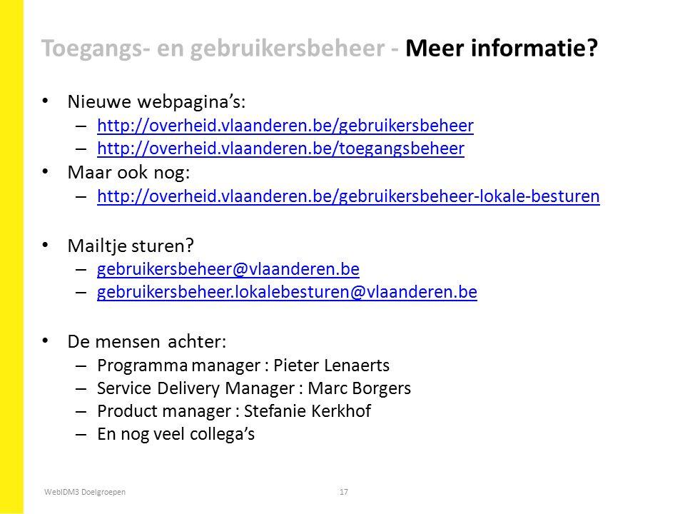 Toegangs- en gebruikersbeheer - Meer informatie