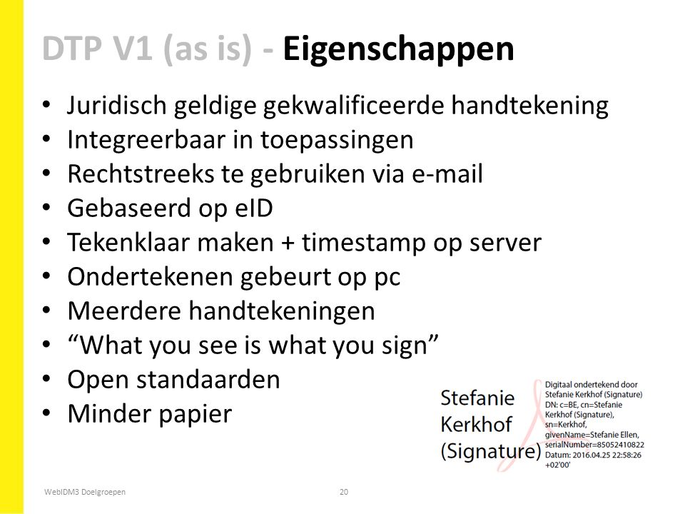 DTP V1 (as is) - Eigenschappen