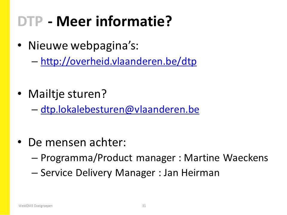 DTP - Meer informatie Nieuwe webpagina's: Mailtje sturen