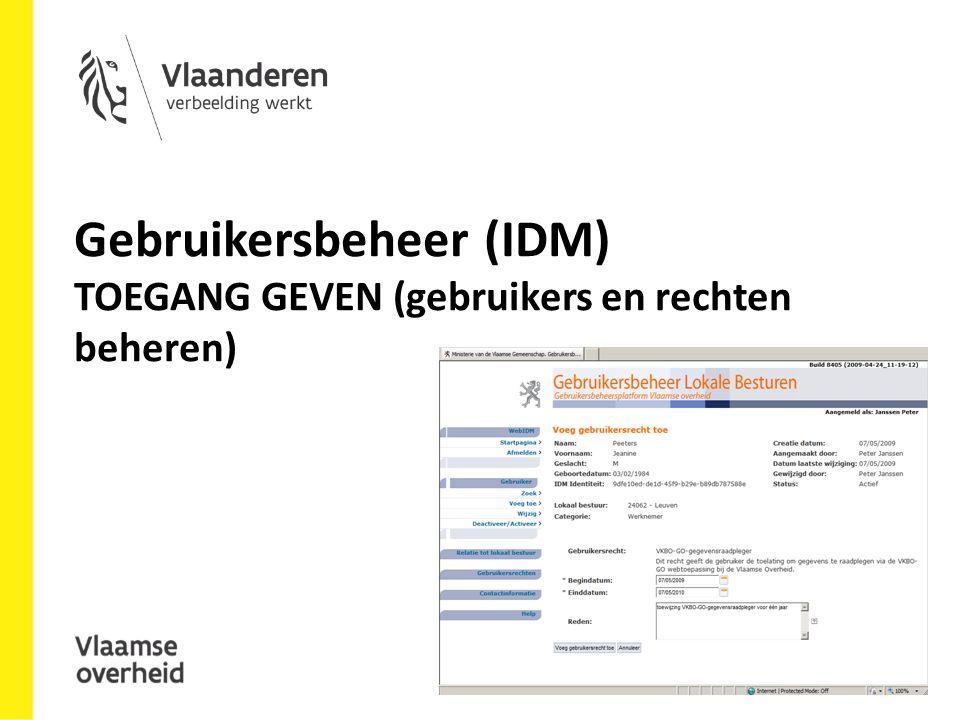 Gebruikersbeheer (IDM) TOEGANG GEVEN (gebruikers en rechten beheren)