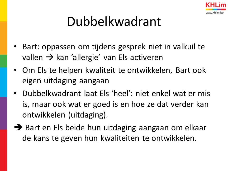 Dubbelkwadrant Bart: oppassen om tijdens gesprek niet in valkuil te vallen  kan 'allergie' van Els activeren.