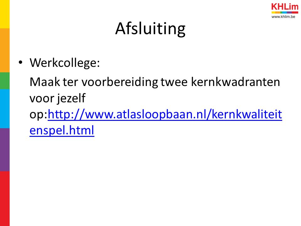 Afsluiting Werkcollege: