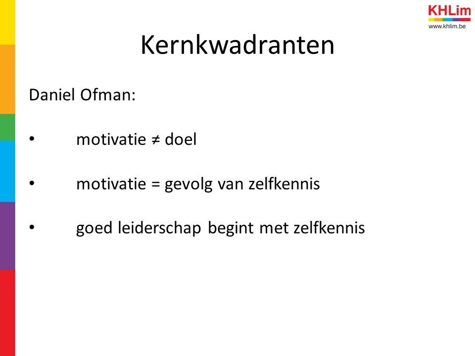 Kernkwadranten Daniel Ofman: motivatie ≠ doel