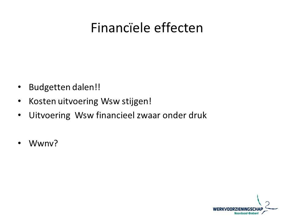 Financïele effecten Budgetten dalen!! Kosten uitvoering Wsw stijgen!