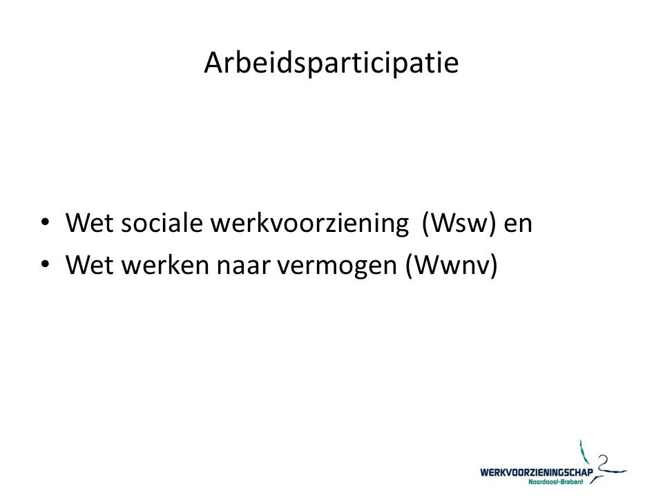 Arbeidsparticipatie Wet sociale werkvoorziening (Wsw) en