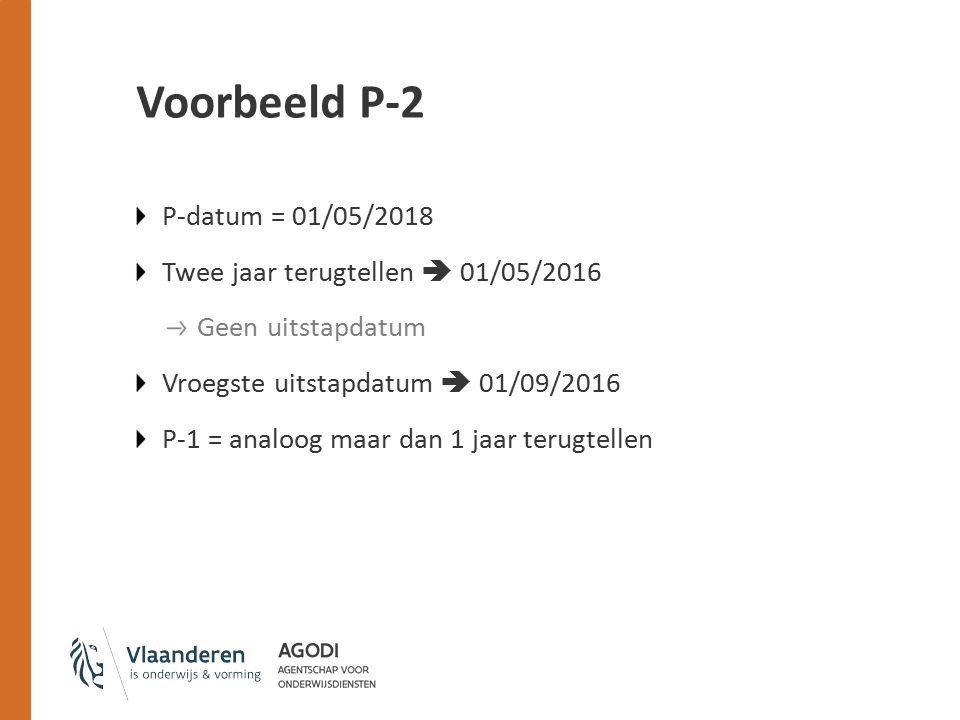 Voorbeeld P-2 P-datum = 01/05/2018 Twee jaar terugtellen  01/05/2016