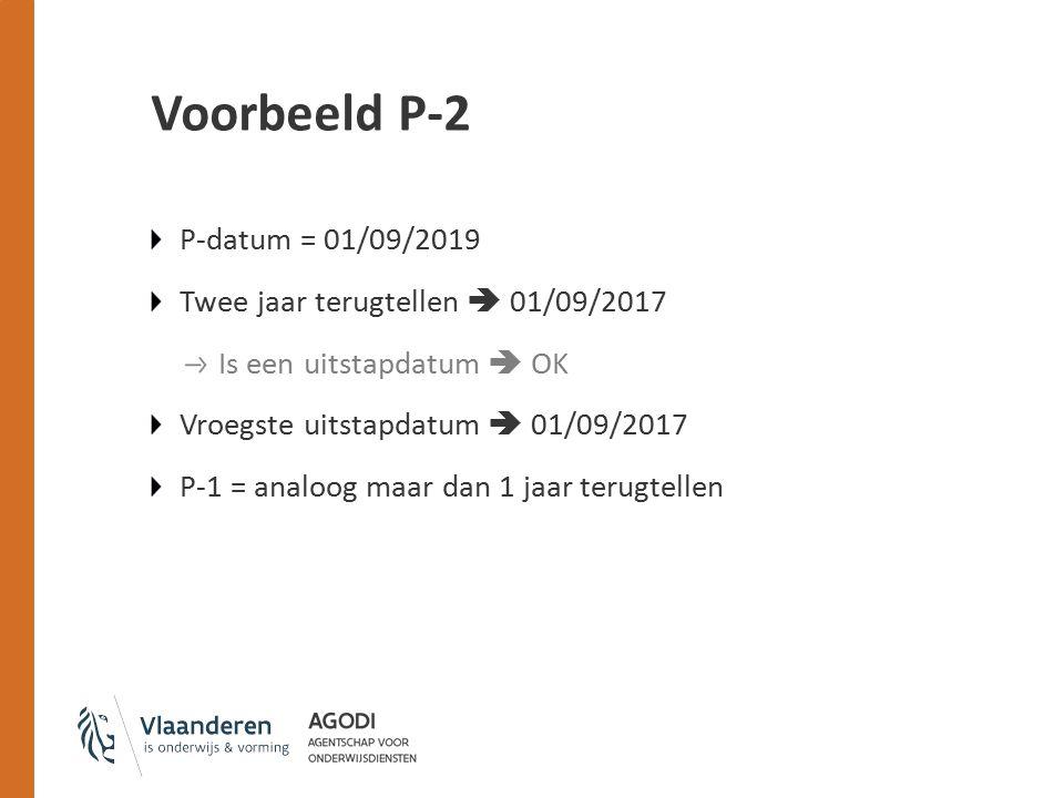 Voorbeeld P-2 P-datum = 01/09/2019 Twee jaar terugtellen  01/09/2017