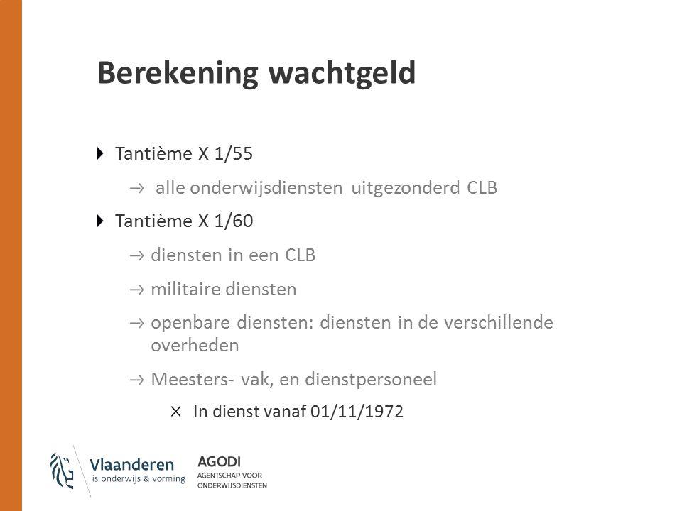 Berekening wachtgeld Tantième X 1/55
