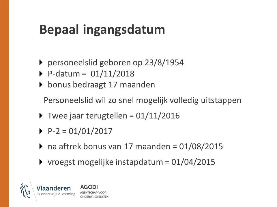 Bepaal ingangsdatum personeelslid geboren op 23/8/1954