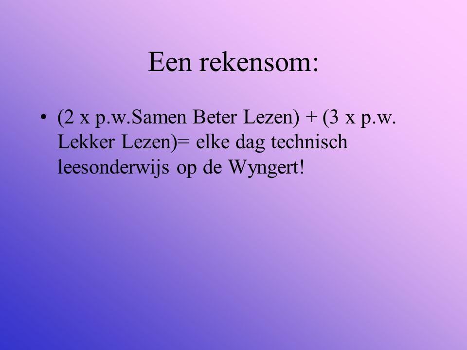 Een rekensom: (2 x p.w.Samen Beter Lezen) + (3 x p.w.