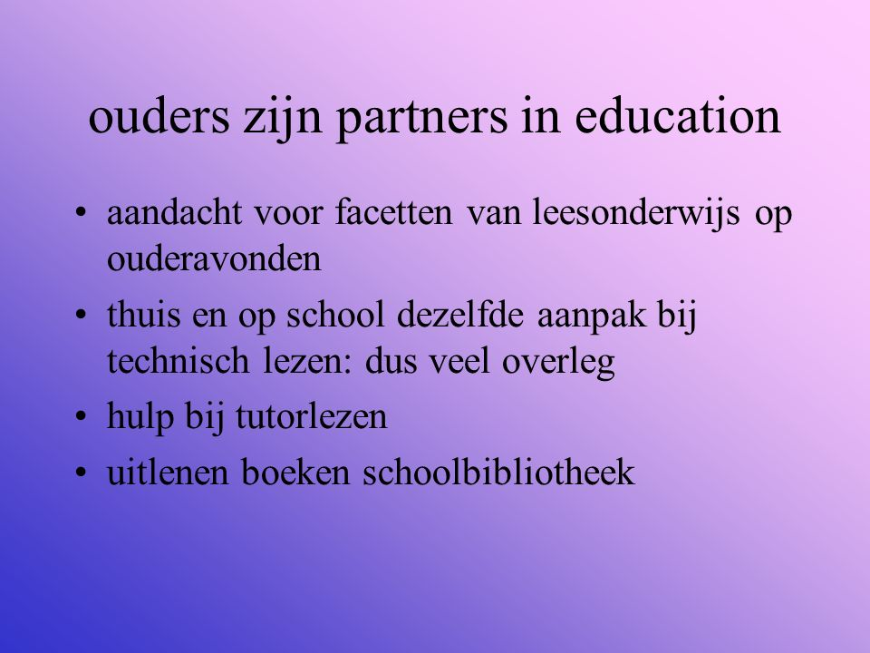 ouders zijn partners in education