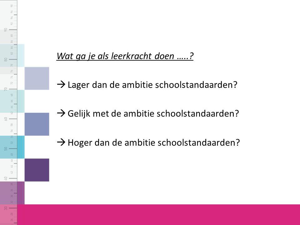 Wat ga je als leerkracht doen …..
