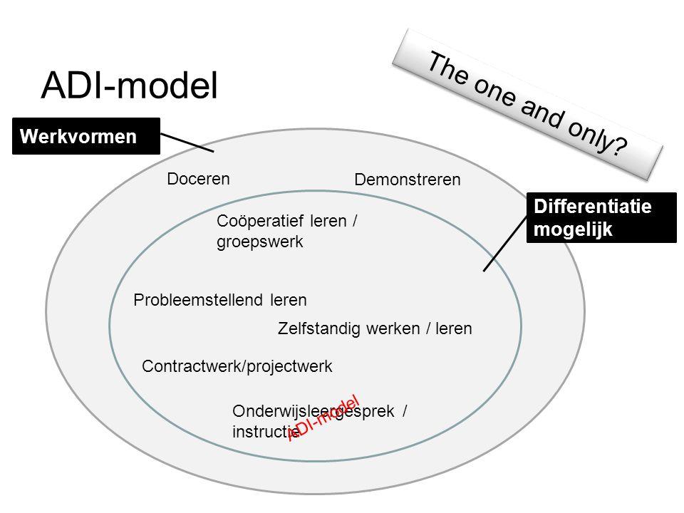ADI-model The one and only Werkvormen Differentiatie mogelijk Doceren