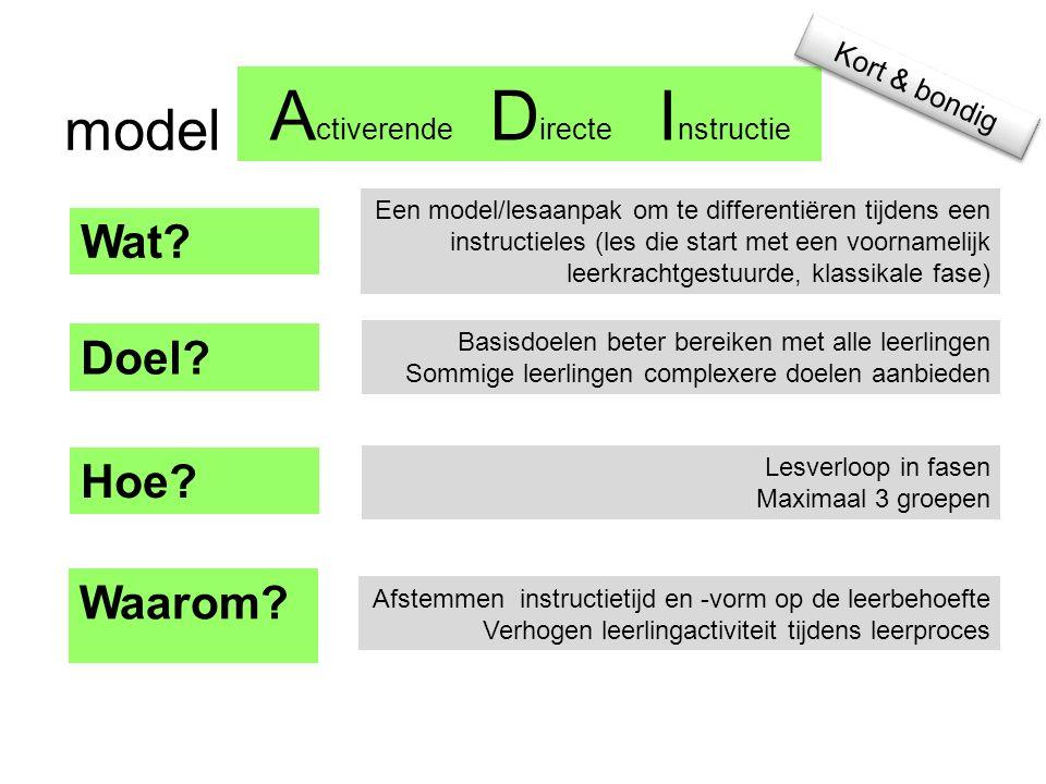 Activerende Directe Instructie model Wat Doel Hoe Waarom