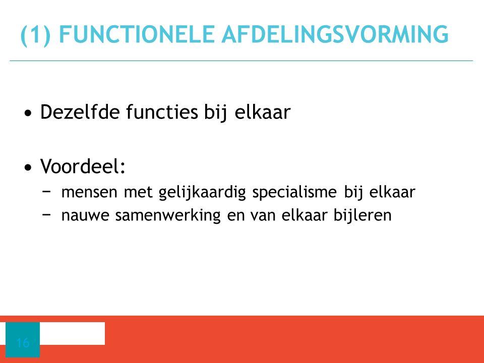 (1) Functionele Afdelingsvorming