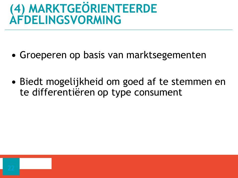 (4) Marktgeörienteerde afdelingsvorming