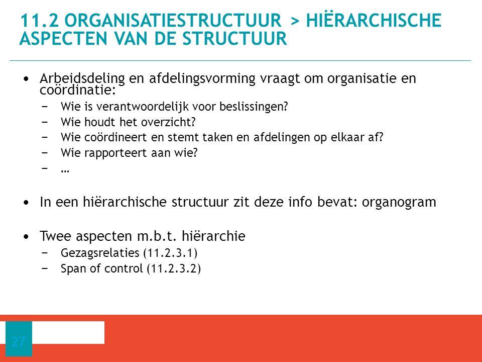 11.2 ORGANISATIESTRUCTUUR > Hiërarchische aspecten van de structuur
