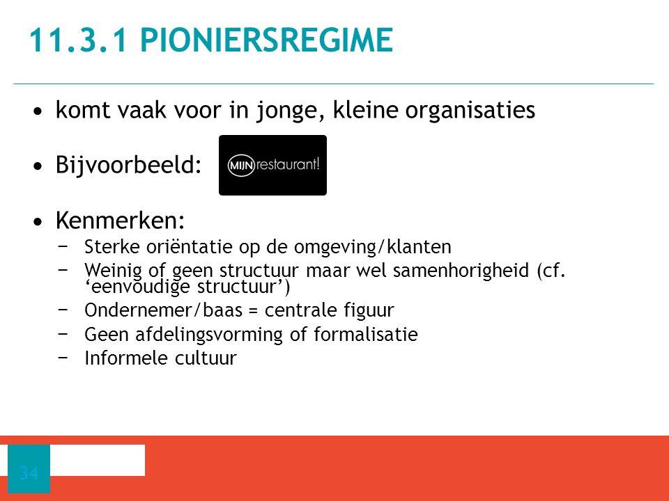 11.3.1 pioniersregime komt vaak voor in jonge, kleine organisaties