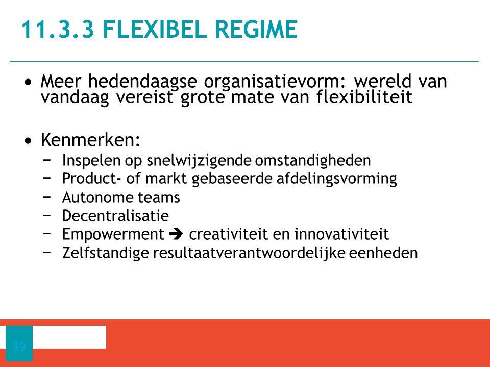 11.3.3 flexibel regime Meer hedendaagse organisatievorm: wereld van vandaag vereist grote mate van flexibiliteit.