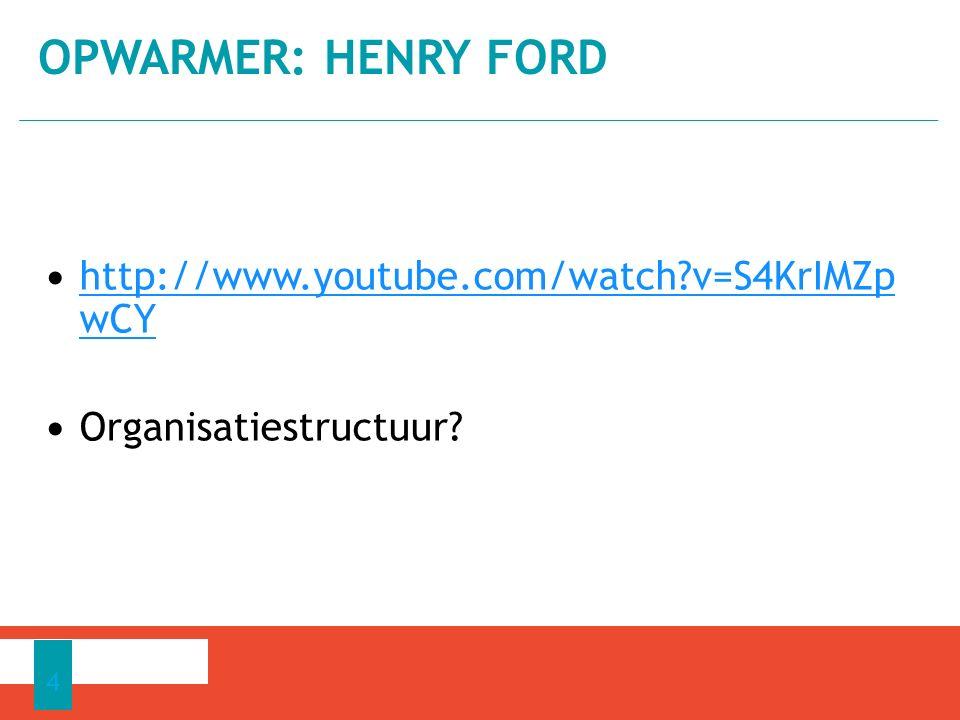 Opwarmer: Henry Ford http://www.youtube.com/watch v=S4KrIMZp wCY