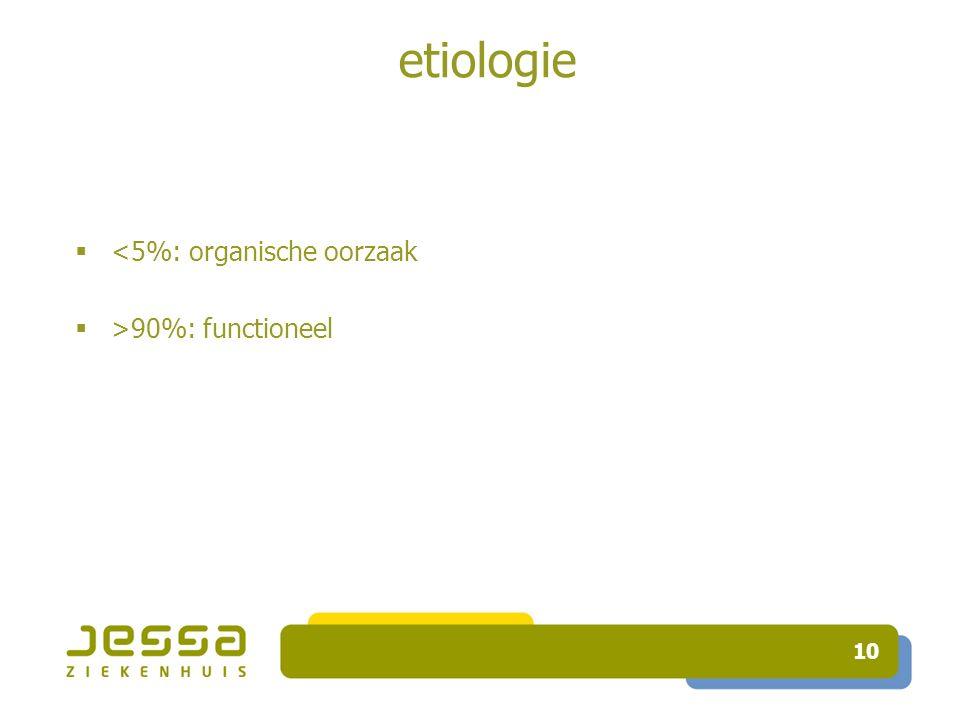 etiologie <5%: organische oorzaak >90%: functioneel