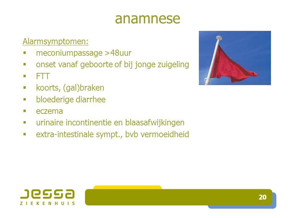 anamnese Alarmsymptomen: meconiumpassage >48uur