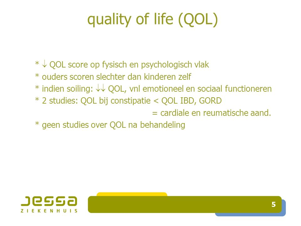 quality of life (QOL) * ouders scoren slechter dan kinderen zelf