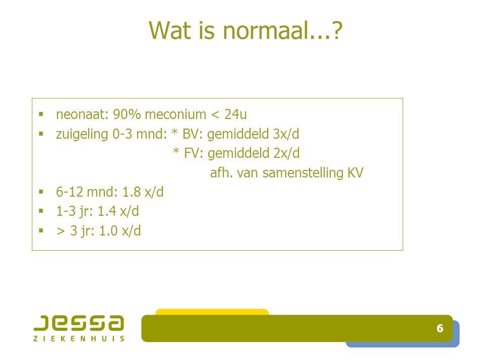 Wat is normaal... neonaat: 90% meconium < 24u