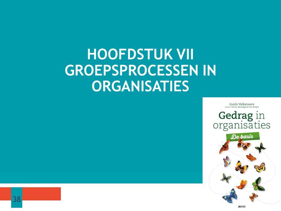 HOOFDSTUK VII GROEPSPROCESSEN IN ORGANISATIES