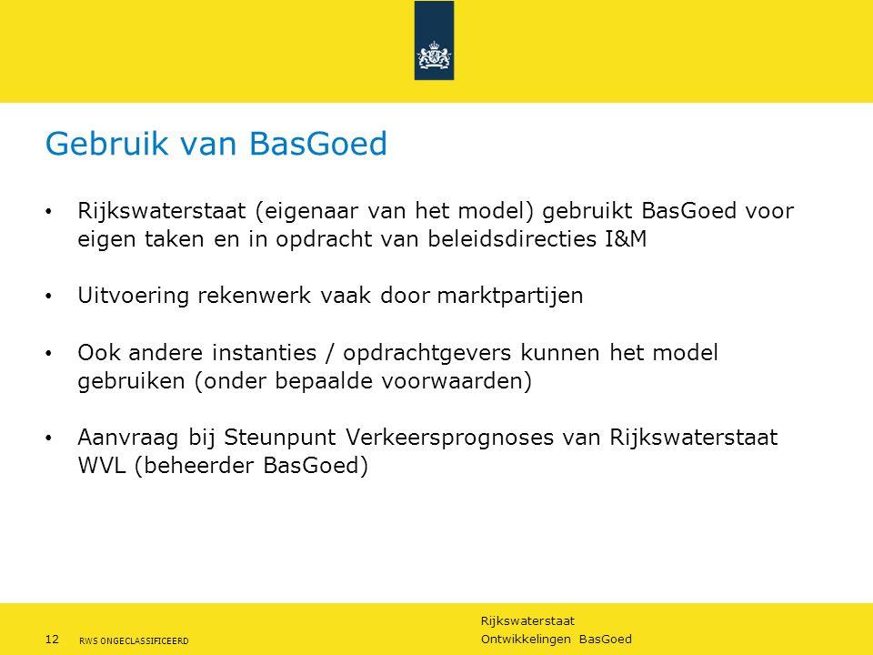 Gebruik van BasGoed Rijkswaterstaat (eigenaar van het model) gebruikt BasGoed voor eigen taken en in opdracht van beleidsdirecties I&M.