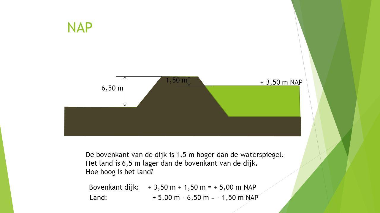 NAP 1,50 m. + 3,50 m NAP. 6,50 m. De bovenkant van de dijk is 1,5 m hoger dan de waterspiegel.