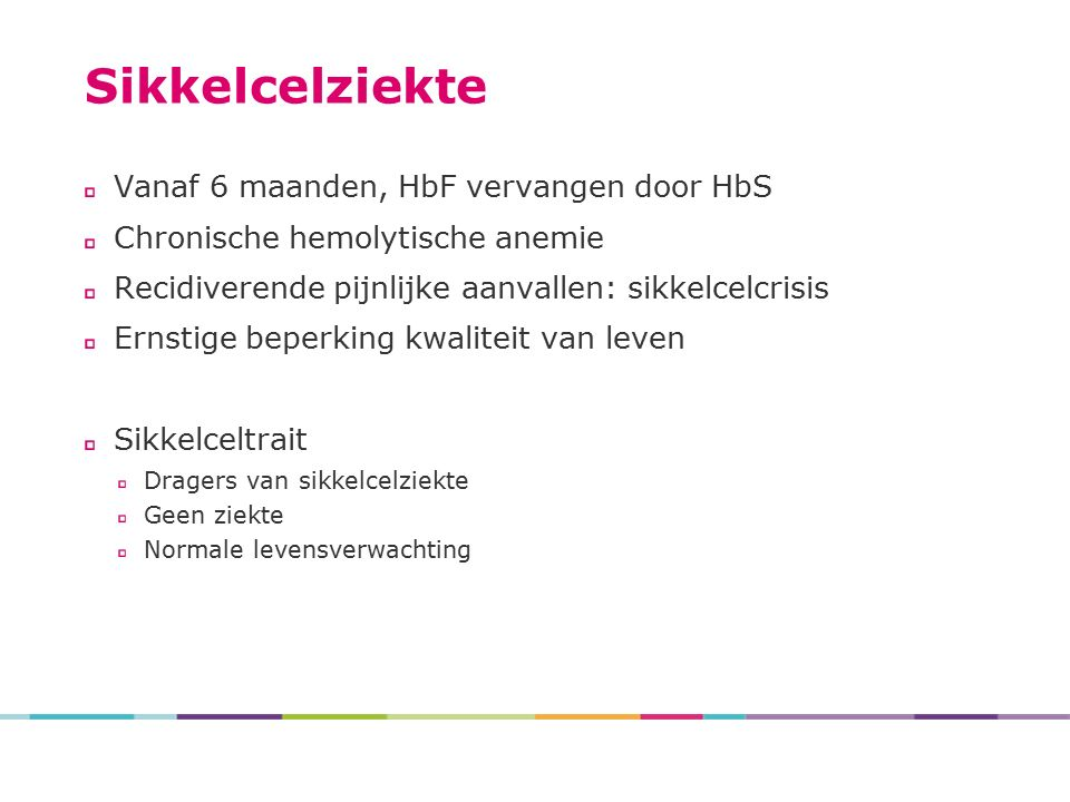 Sikkelcelziekte Vanaf 6 maanden, HbF vervangen door HbS