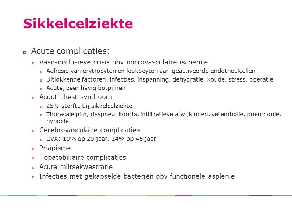 Sikkelcelziekte Acute complicaties: